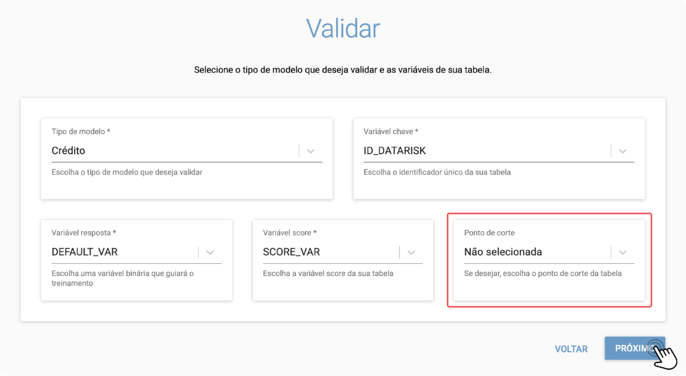ponto de corte validation